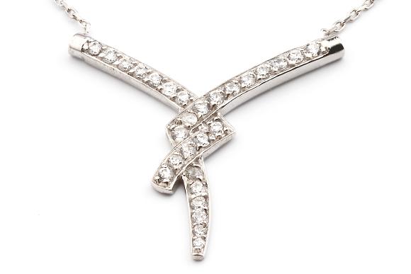Collier silber  Silber Collier - Kette mit Zirkonia Steinen AJC-062
