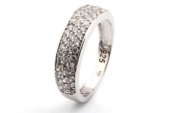 Silber ring  Silber Ring mit weißen Zirkonia Steinen - AJRZ-002