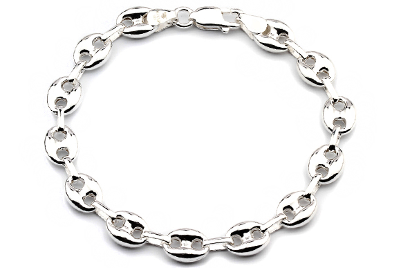 Silberarmband  Silberarmband: Bohnenarmband Silber 8.5mm 19cm