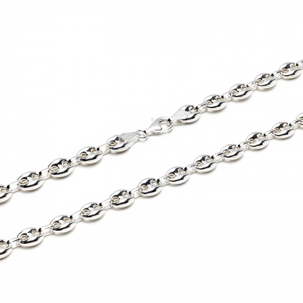 Bohnenkette Silber 8.5 mm und 55 cm - 65 cm