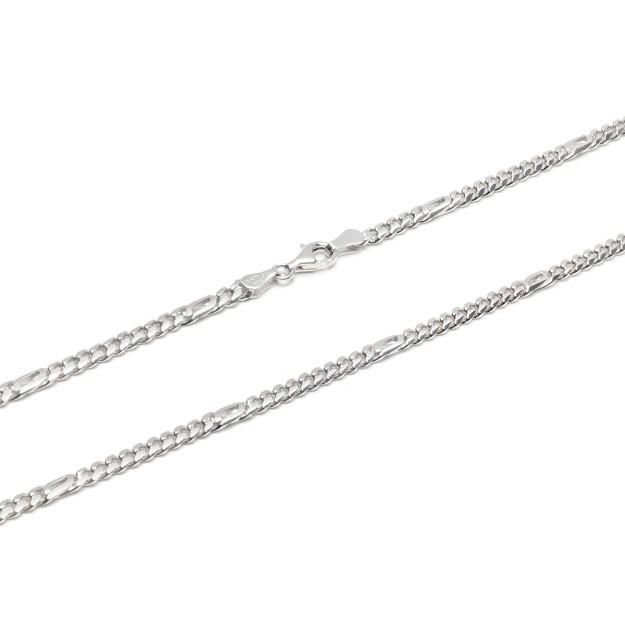 Pfauenaugekette Silber 4 mm und 50 cm - 60 cm - rhodiniert