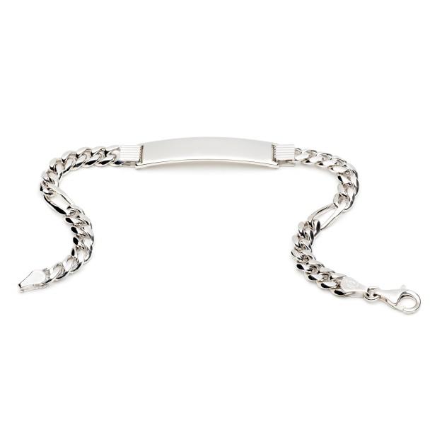 Silber Figaroarmband mit Gravurplatte 6 mm und 20 cm - 22 cm - rhodiniert