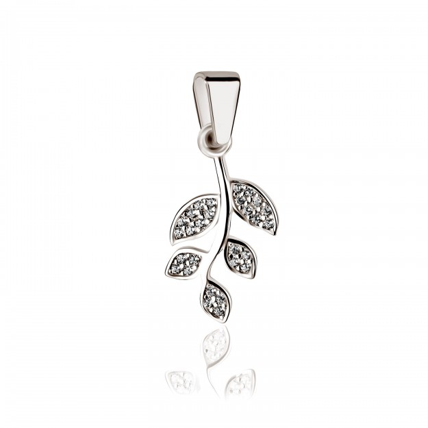 Silber Anhänger - Blätterzweig mit Zirkoniasteinen