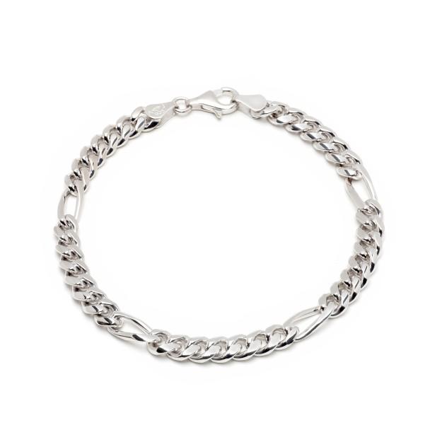 Figaroarmband Silber 6 mm und 20 cm - 22 cm - rhodiniert