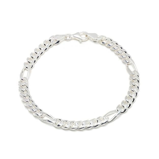 Figaroarmband Silber 6 mm und 20 cm - 22 cm