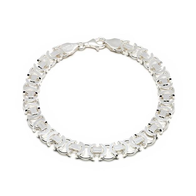 Königarmband flach Silber 8,5 mm und 20 cm - 22 cm