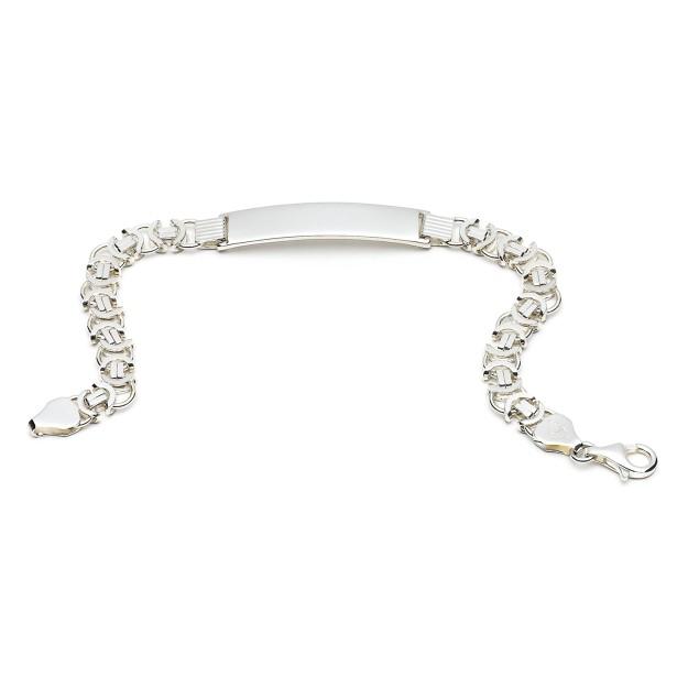 Silber Königsarmband flach mit Gravurplatte 7 mm und 19 cm - 21 cm