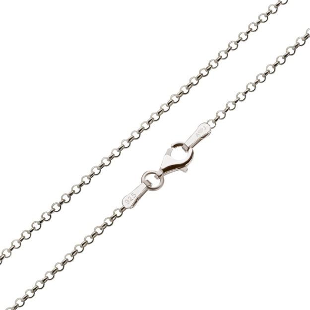 Feine Erbskette Silber 2,2 mm und 40 cm - 50 cm - rhodiniert