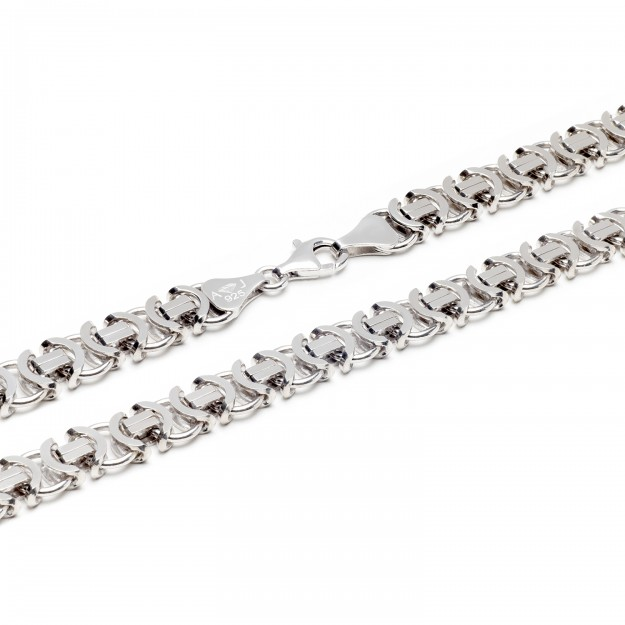 Königskette flach Silber 11 mm und 60 cm - 70 cm - rhodiniert