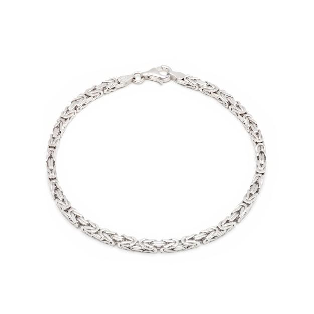 Königsarmband Silber 3,5 mm und 19 cm - 21 cm - rhodiniert