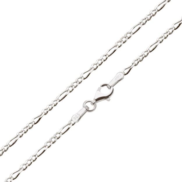 Feine Figarokette Silber 2,1 mm und 40 cm - 70 cm