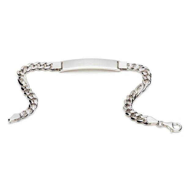 Silber Pfauenaugearmband mit Gravurplatte 6 mm und 20 cm - 22 cm - rhodiniert