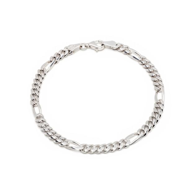 Figaroarmband Silber 5 mm und 19 cm - 21 cm - rhodiniert