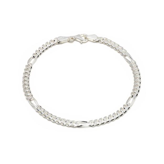 Figaroarmband Silber 4 mm und 19 cm - 21 cm