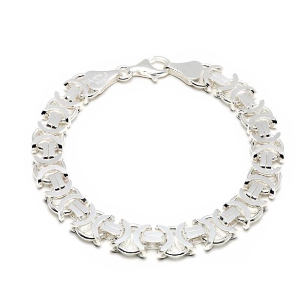 Königarmband flach Silber 11 mm und 21 cm - 23 cm