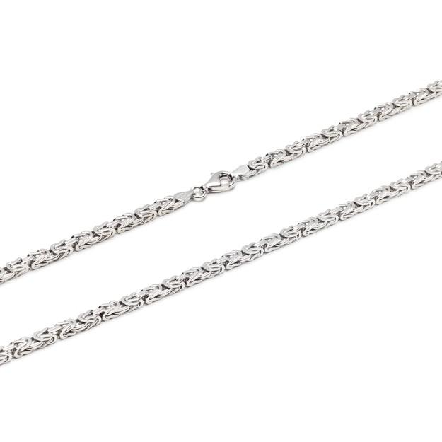 Königskette Silber 3,5 mm und 50 cm - 65 cm - rhodiniert