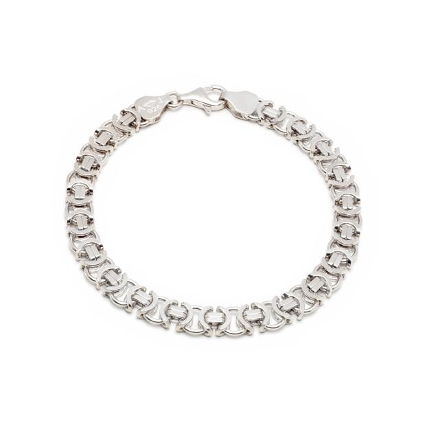 Königarmband flach Silber 7 mm und 19 cm - 21 cm - rhodiniert
