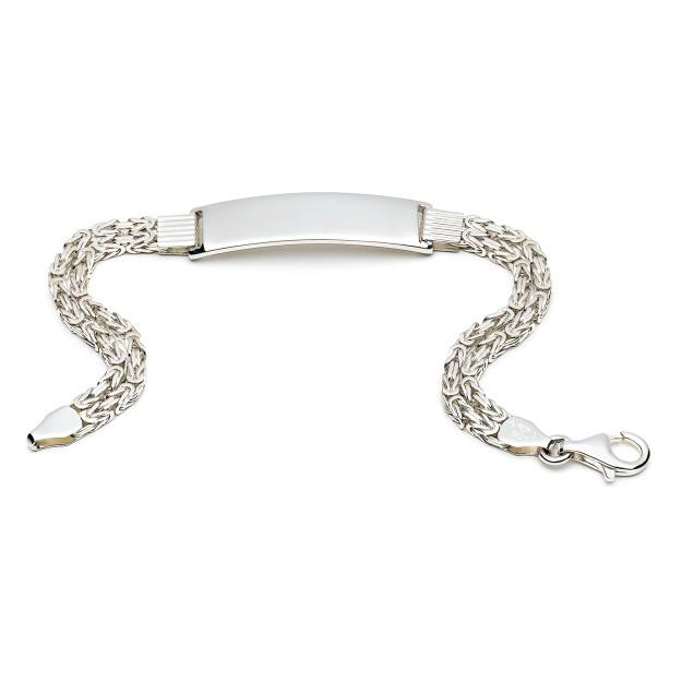 Silber Königsarmband mit Gravurplatte 35 mm und 20 cm - 22 cm