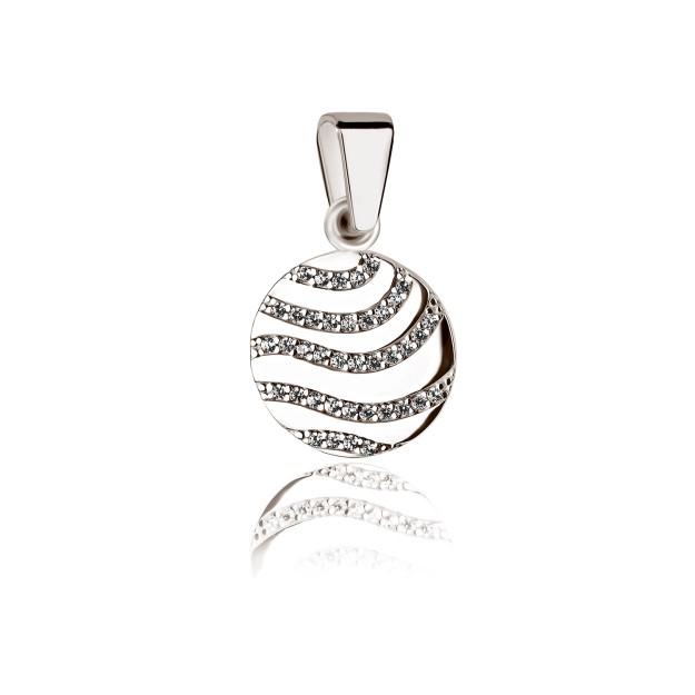 Silber Anhänger - Kreisanhänger mit Zirkoniasteinen