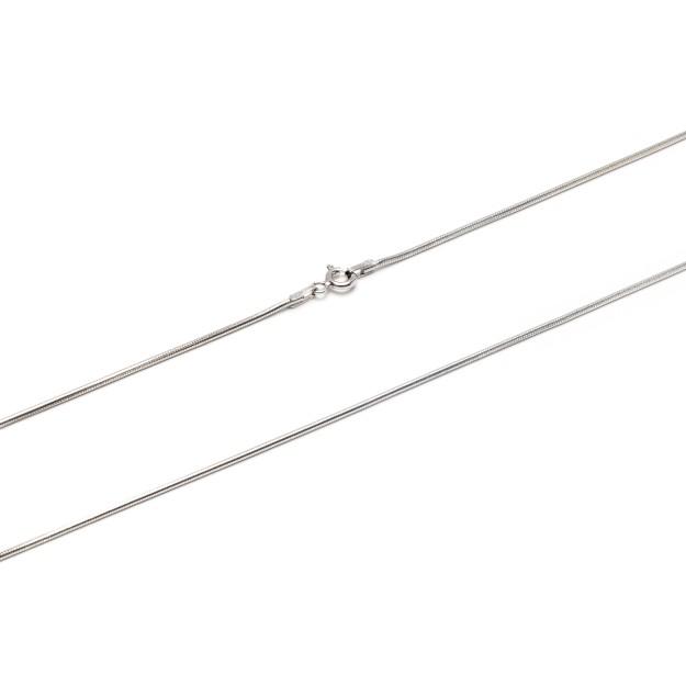 Schlangenkette Silber 1,6 mm und 42 cm - 50 cm - rhodiniert