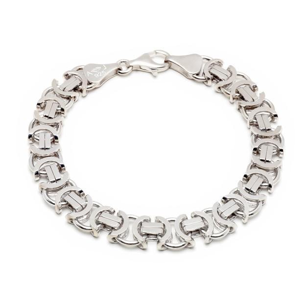 Königarmband flach Silber 11 mm und 21 cm - 23 cm - rhodiniert