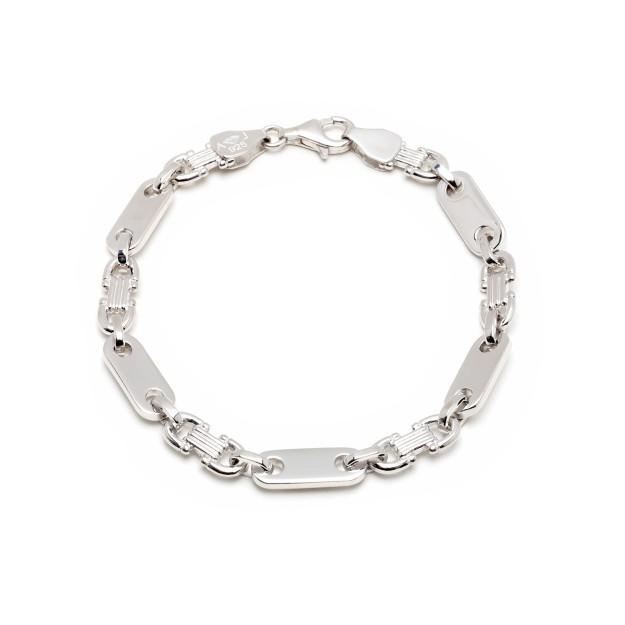 Plattenarmband Silber 6,5 mm und 19 cm - 21 cm - rhodiniert