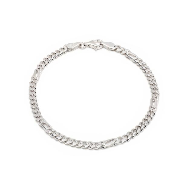 Pfauenaugearmband Silber 4 mm und 19 cm - 21 cm - rhodiniert