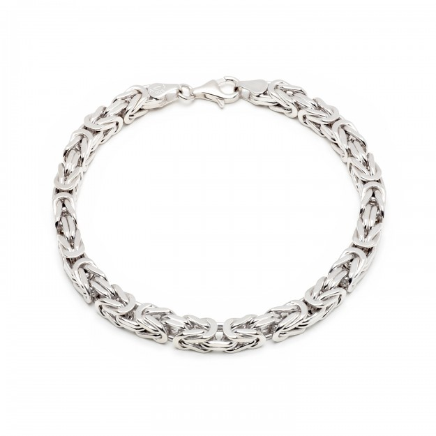Königsarmband Silber 6 mm und 21 cm - 23 cm - rhodiniert