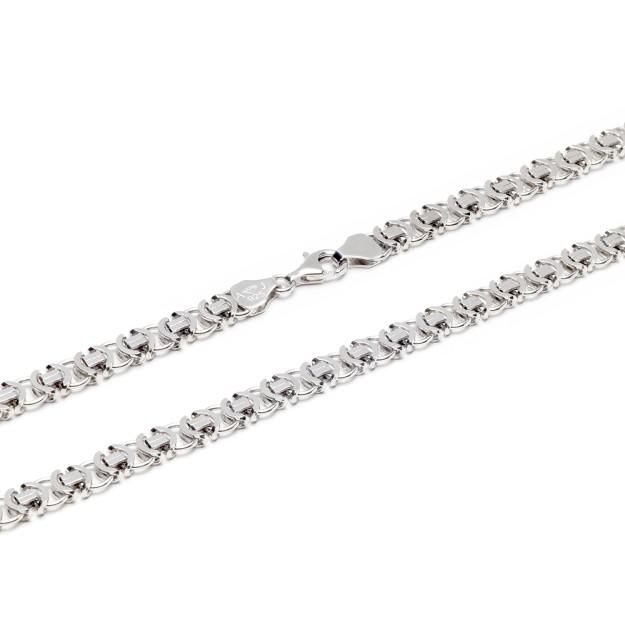 Königskette flach Silber 7 mm und 50 cm - 60 cm - rhodiniert
