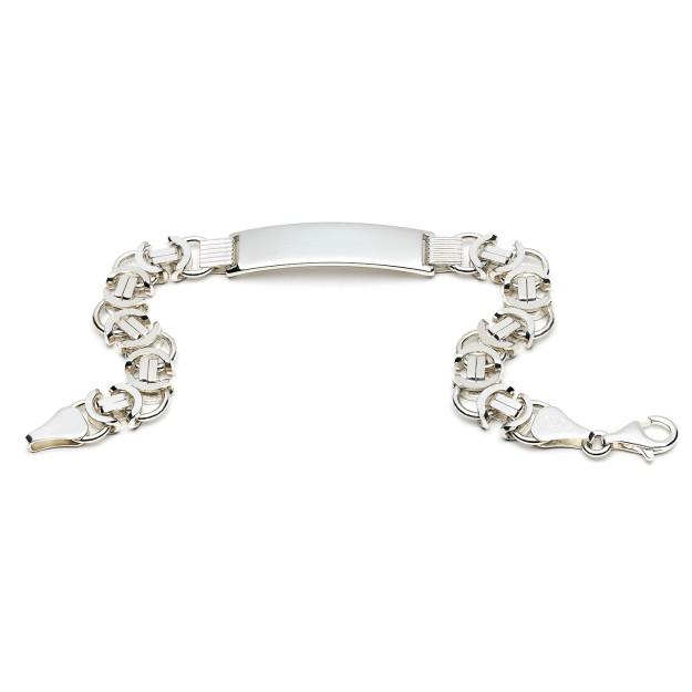 Silber Königsarmband flach mit Gravurplatte 11 mm und 21 cm - 23 cm