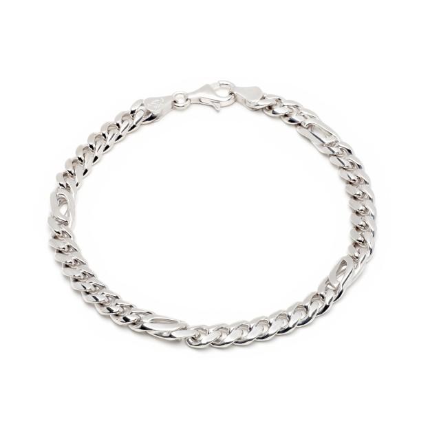 Pfauenaugearmband Silber 6 mm und 20 cm - 22 cm - rhodiniert