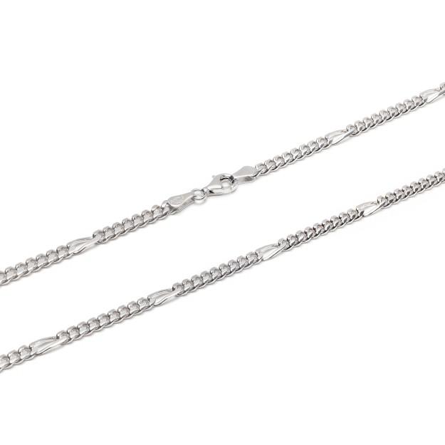 Figarokette Silber 4 mm und 50 cm - 60 cm - rhodiniert