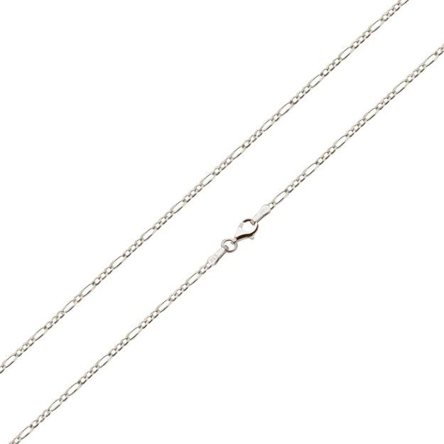 Feine Figarokette Silber 1,3 mm und 40 cm - 50 cm - rhodiniert