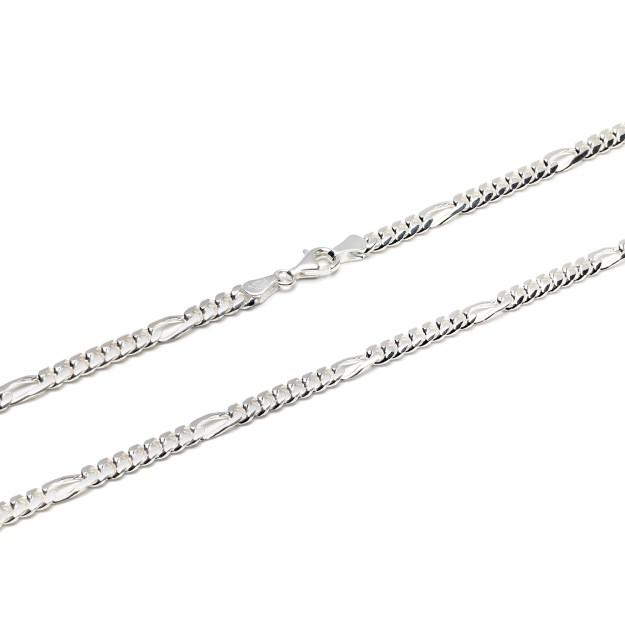 Figarokette Silber 5 mm und 50 cm - 60 cm