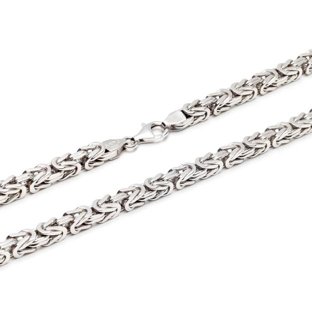 Königskette Silber 7 mm und 60 cm - 70 cm - rhodiniert