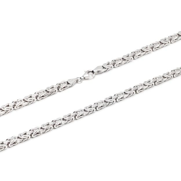 Königskette Silber 4 mm und 55 cm - 65 cm - rhodiniert
