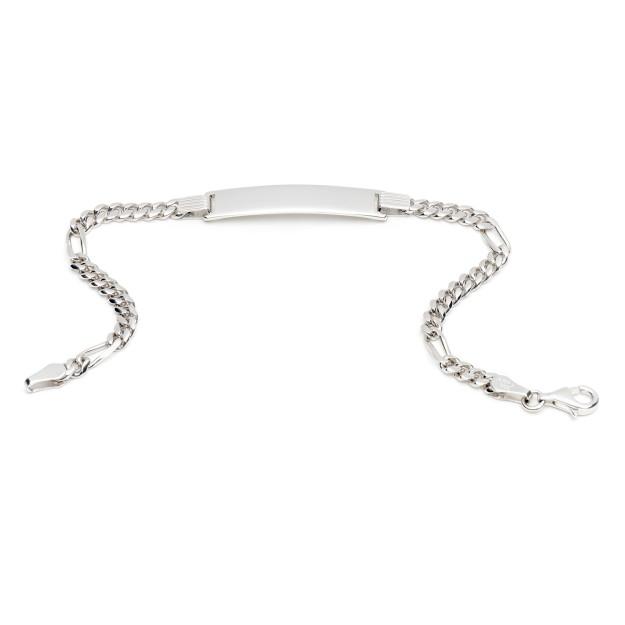 Silber Figaroarmband mit Gravurplatte 4 mm und 19 cm - 21 cm - rhodiniert
