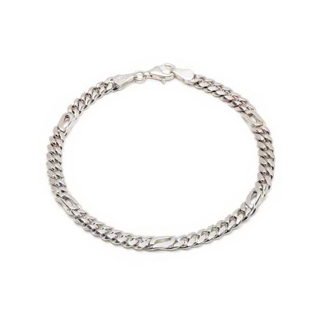 Pfauenaugearmband Silber 5 mm und 19 cm - 21 cm - rhodiniert