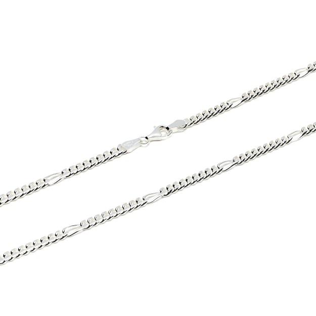 Figarokette Silber 4 mm und 50 cm - 60 cm