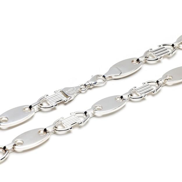 Plattenkette Silber 12 mm und 60 cm - 70 cm
