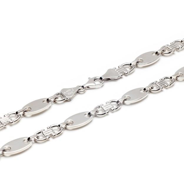 Plattenkette Silber 10 mm und 60 cm - 70 cm - rhodiniert