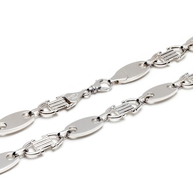 Plattenkette Silber 12 mm und 60 cm - 70 cm - rhodiniert