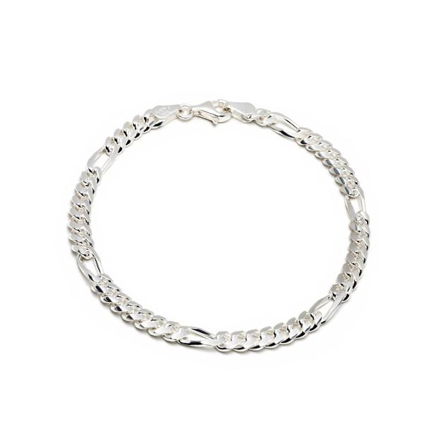 Figaroarmband Silber 5 mm und 19 cm - 21 cm