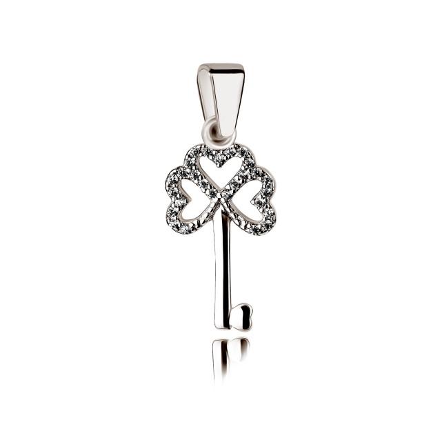 Silber Anhänger - Schlüssel zum Herzen mit Zirkoniasteinen