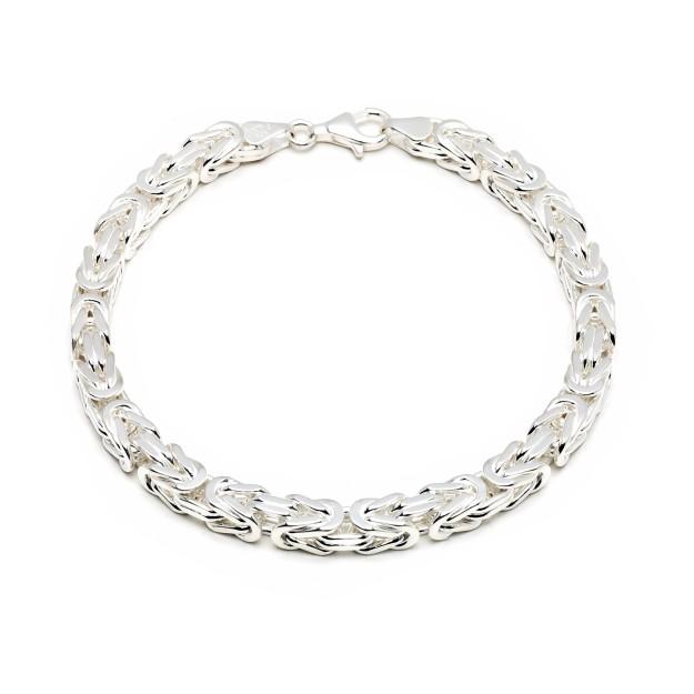 Königsarmband Silber 6 mm und 21 cm - 23 cm
