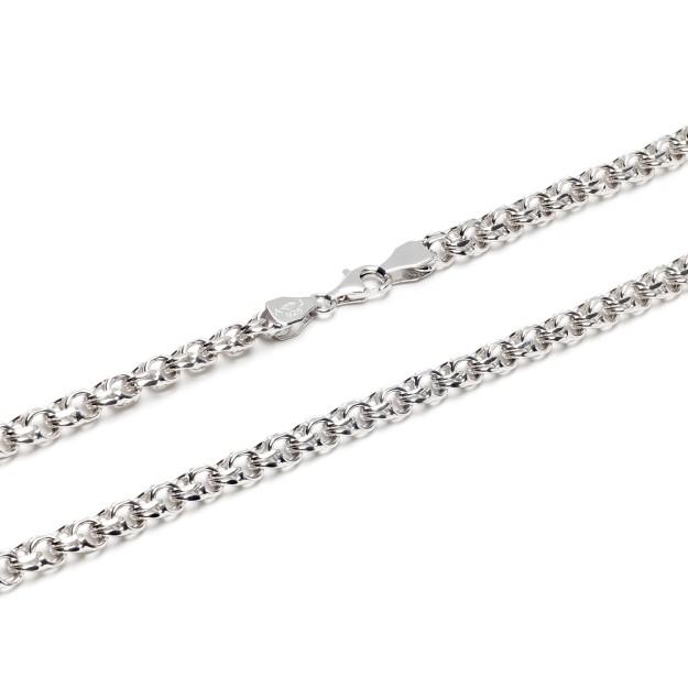 Garibaldikette Silber 6,5 mm und 50 cm - 60 cm - rhodiniert