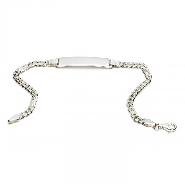Silber Pfauenaugearmband mit Gravurplatte 4 mm und 19 cm - 21 cm