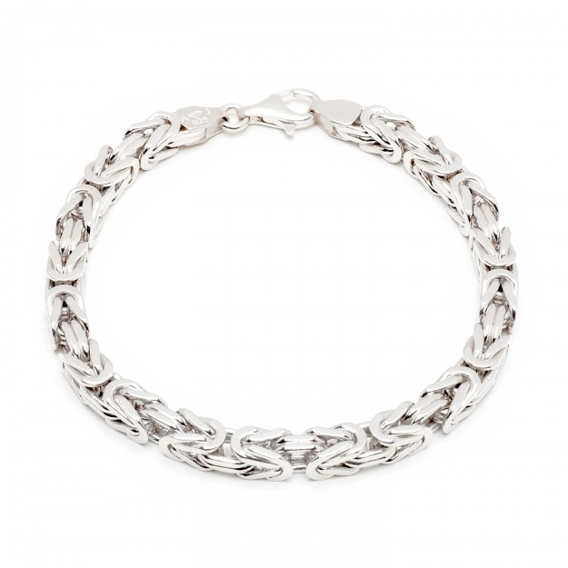 Königsarmband Silber 7 mm und 21 cm - 23 cm - rhodiniert